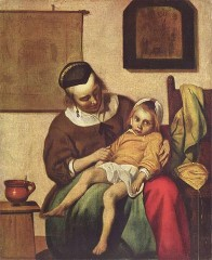 « L'Enfant malade » par Gabriel Metsu, vers 1660-1665 (Rijksmuseum, Amsterdam). — The Yorck Project: 10.000 Meisterwerke der Malerei. DVD-ROM, 2002. ISBN 3936122202. Distributed by DIRECTMEDIA Publishing GmbH.. Sous licence Public domain via Wikimedia Commons - https://commons.wikimedia.org/wik