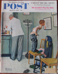"The Saturday Evening Post Mars 1958 Couv. N. Rockwell Après la piqûre In collection ""http://www.norman-rockwell-france.com/"""